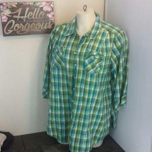 Lane B plaid 3/4 sleeve shirt blouse top 22/24